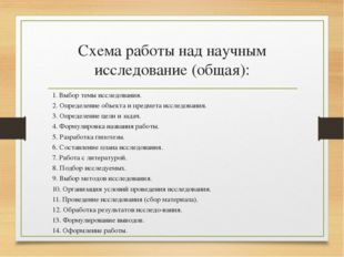 Схема работы над научным исследование (общая): 1. Выбор темы исследования. 2.