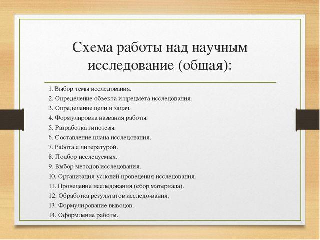 Схема работы над научным исследование (общая): 1. Выбор темы исследования. 2....