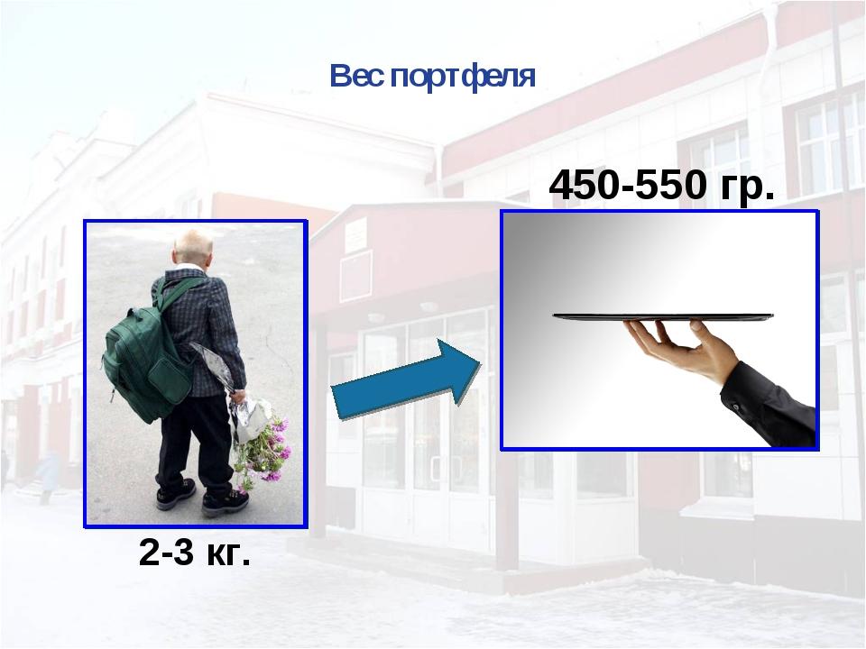 Вес портфеля 2-3 кг. 450-550 гр.