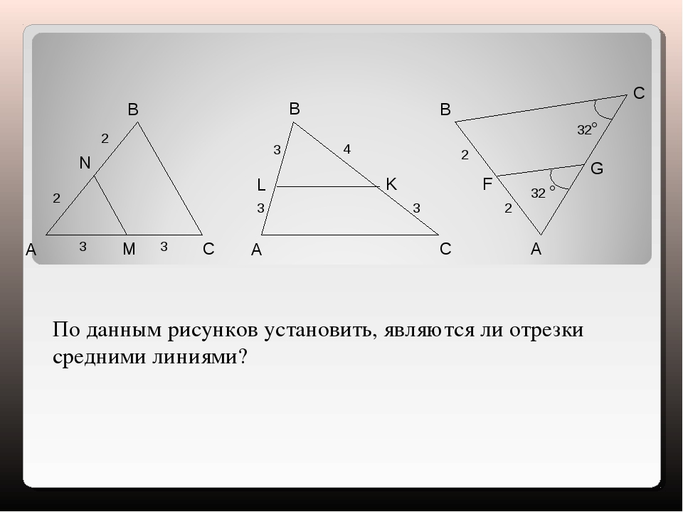 A B C N M 2 2 3 3 A B C L K 3 3 4 3 2 2 32° 32 ° A B C F G По данным рисунков...