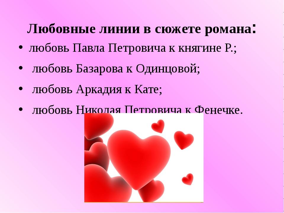 Любовные линии в сюжете романа: любовь Павла Петровича ккнягине Р.; любовь Б...