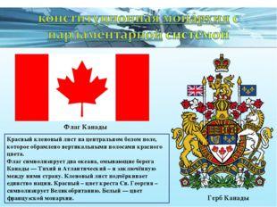 Флаг Канады Герб Канады Красный кленовый лист на центральном белом поле, кото