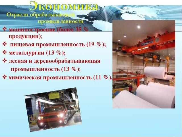 Отрасли обрабатывающей промышленности: машиностроение (более 35 % продукции)...