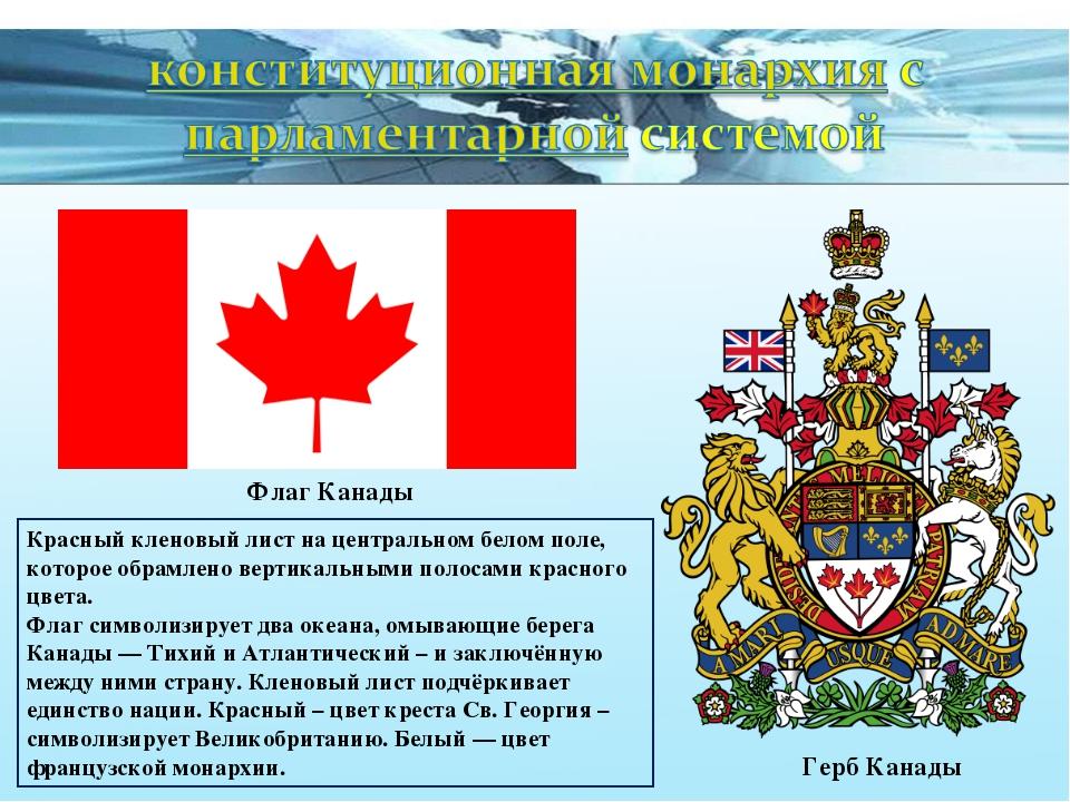 Флаг Канады Герб Канады Красный кленовый лист на центральном белом поле, кото...
