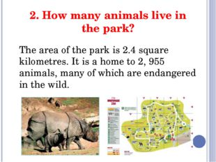 2. How many animals live in the park? The area of the park is 2.4 square kilo
