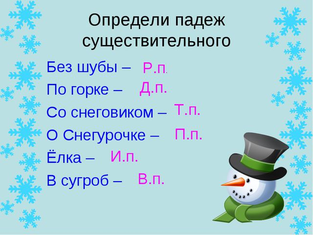 Определи падеж существительного Без шубы – По горке – Со снеговиком – О Снегу...