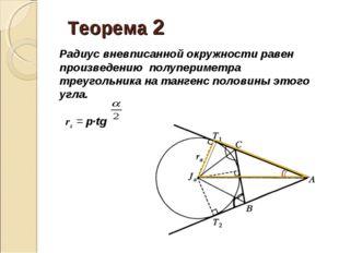 Теорема 2 Радиус вневписанной окружности равен произведению полупериметра т