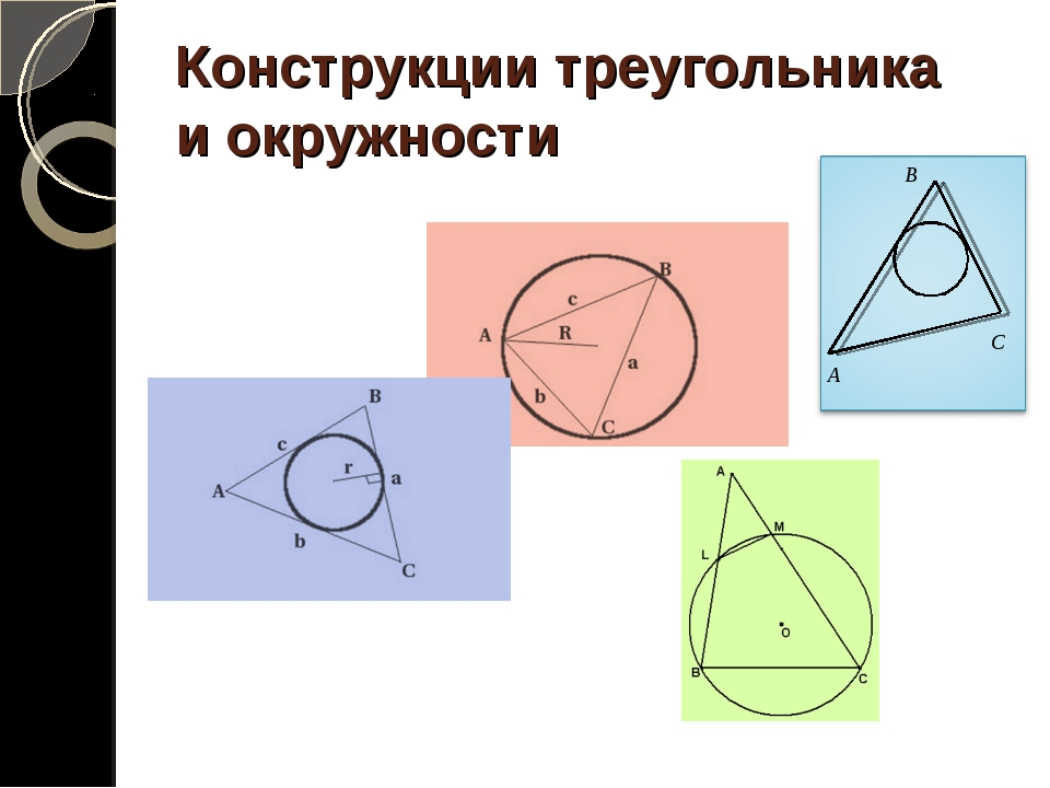 Конструкции треугольника и окружности A В C