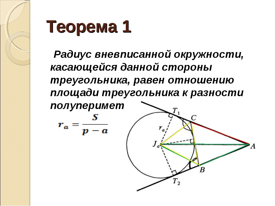 Теорема 1 Радиус вневписанной окружности, касающейся данной стороны треугольн...