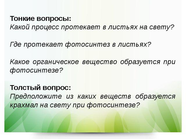 Тонкие вопросы: Какой процесс протекает в листьях на свету? Где протекает фот...
