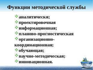 Функции методической службы аналитическя; проектировочная информационная; пла