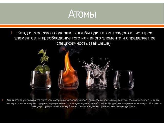 Атомы Каждая молекула содержит хотя бы один атом каждого из четырех элементов...