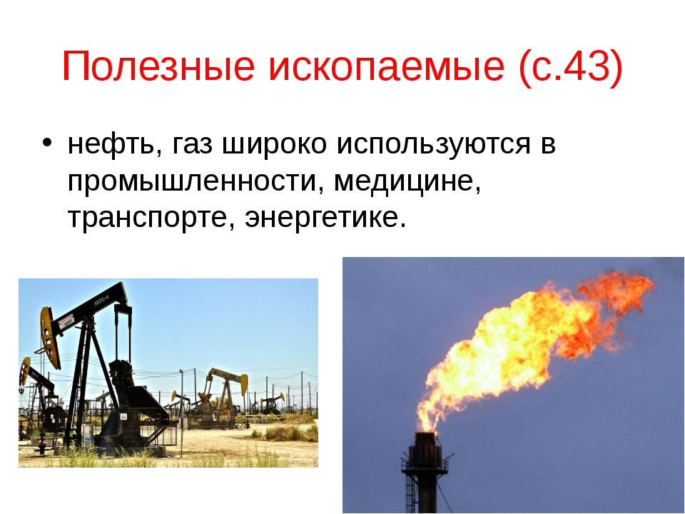 Полезные ископаемые (с.43) нефть, газ широко используются в промышленности, м...