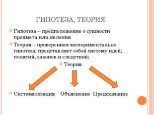 ГИПОТЕЗА, ТЕОРИЯ Гипотеза – предположение о сущности предмета или явления Тео