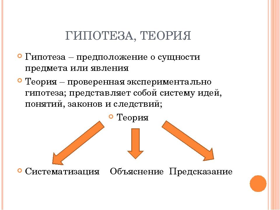 ГИПОТЕЗА, ТЕОРИЯ Гипотеза – предположение о сущности предмета или явления Тео...