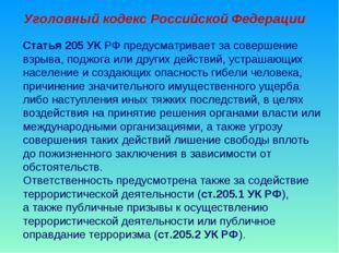 Уголовный кодекс Российской Федерации Статья 205 УК РФ предусматривает за сов