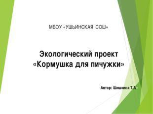 МБОУ «УШЬИНСКАЯ СОШ» Экологический проект «Кормушка для пичужки» Автор: Шишки