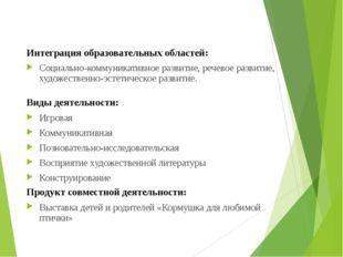 Интеграция образовательных областей: Социально-коммуникативное развитие, реч
