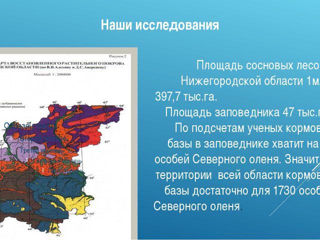 Наши исследования Площадь сосновых лесов в Нижегородской области 1млн. 397,7...