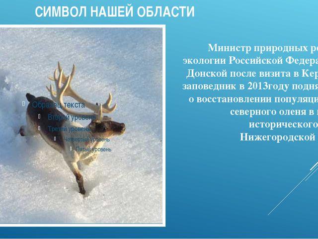 СИМВОЛ НАШЕЙ ОБЛАСТИ Министр природных ресурсов и экологии Российской Федера...