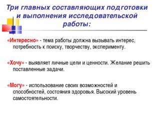 Три главных составляющих подготовки и выполнения исследовательской работы: «И