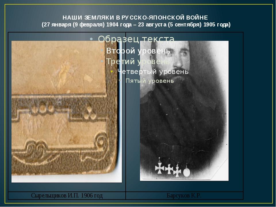 НАШИ ЗЕМЛЯКИ В РУССКО-ЯПОНСКОЙ ВОЙНЕ (27 января (9 февраля) 1904 года – 23 а...