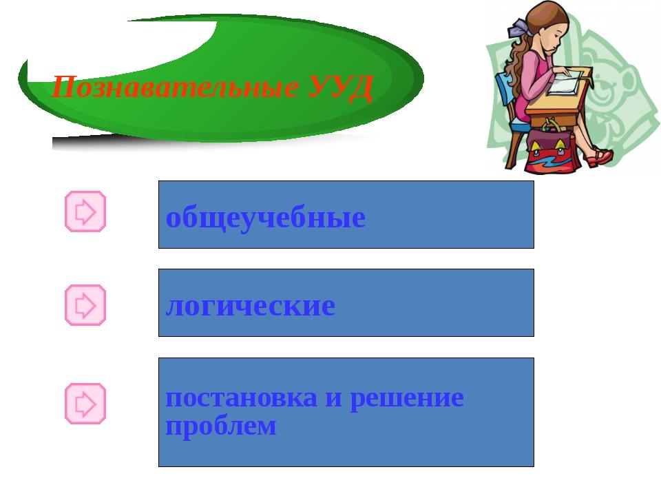 Познавательные УУД общеучебные логические постановка и решение проблем