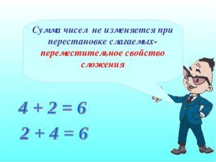 Сумма чисел не изменяется при перестановке слагаемых- переместительное свойст