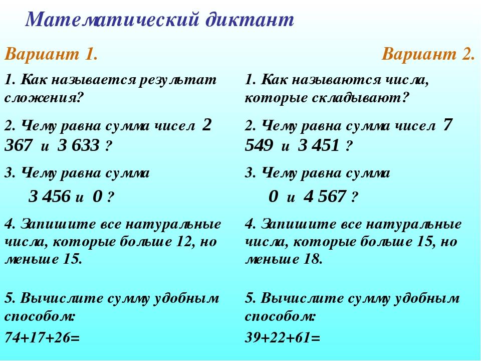 Математический диктант Вариант 1.Вариант 2. 1. Как называется результат слож...