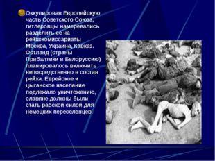 Оккупировав Европейскую часть Советского Союза, гитлеровцы намеревались разд