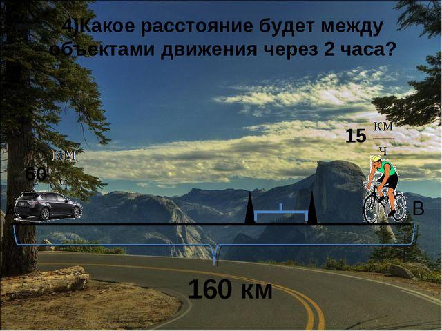 А 15 4)Какое расстояние будет между объектами движения через 2 часа?