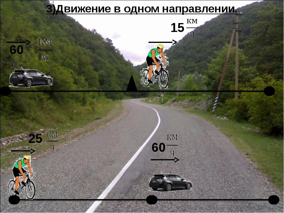 3)Движение в одном направлении.