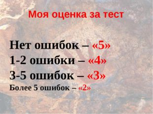 Моя оценка за тест Нет ошибок – «5» 1-2 ошибки – «4» 3-5 ошибок – «3» Более 5
