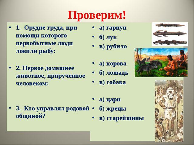 Проверим! 1. Орудие труда, при помощи которого первобытные люди ловили рыбу:...