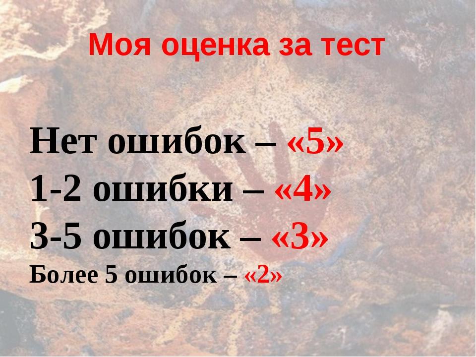 Моя оценка за тест Нет ошибок – «5» 1-2 ошибки – «4» 3-5 ошибок – «3» Более 5...