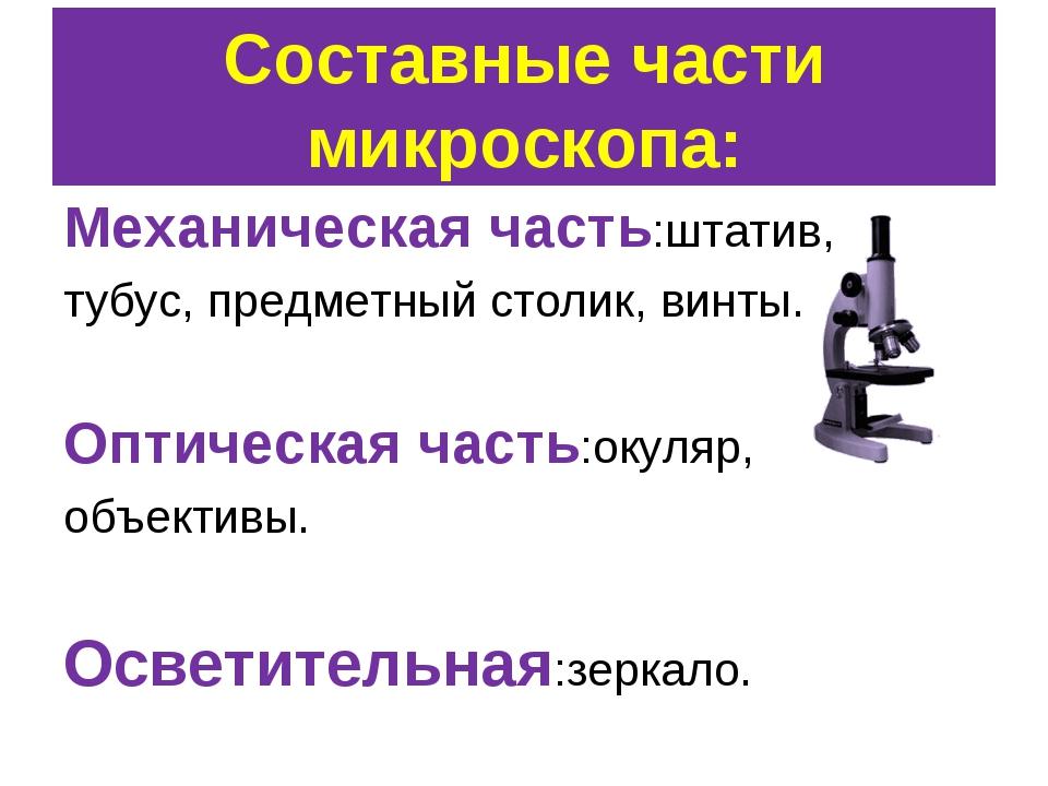 Составные части микроскопа: Механическая часть:штатив, тубус, предметный стол...