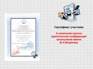 Сертификат участника II зональная научно-практическая конференция школьников
