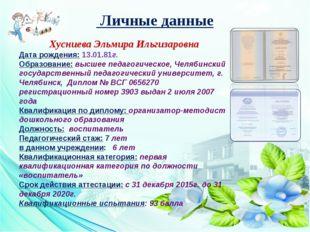 Личные данные Хусниева Эльмира Ильгизаровна Дата рождения: 13.01.81г. Образо