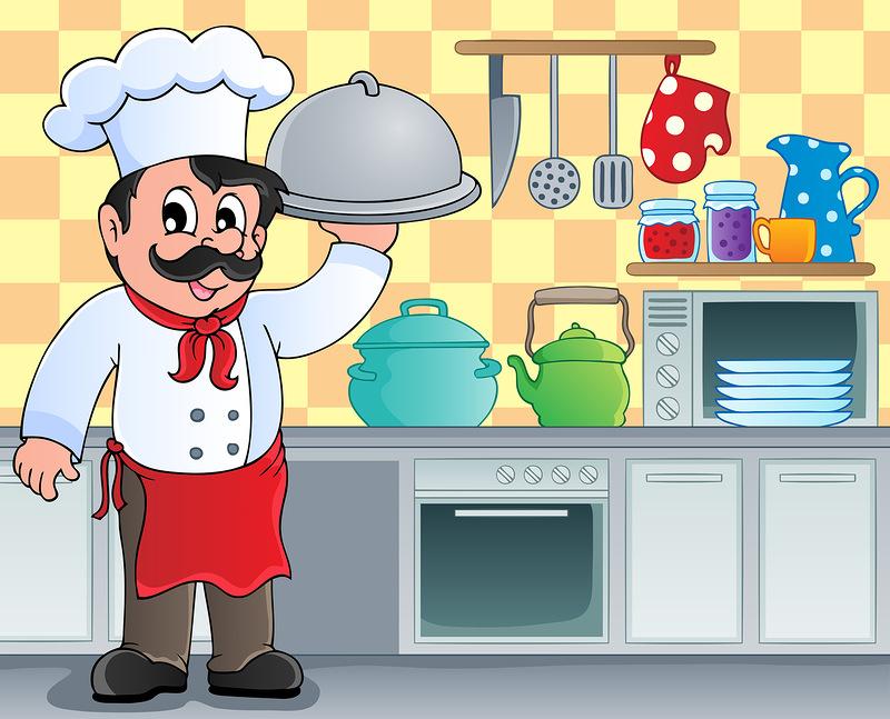 Мультфильм иллюстрации шеф-повар ресторана счастливые проведения блюдо металла еды Клипарты, векторы, и Набор Иллюстраций Без Оп