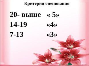 Критерии оценивания 20- выше « 5» 14-19 «4» 7-13 «3»