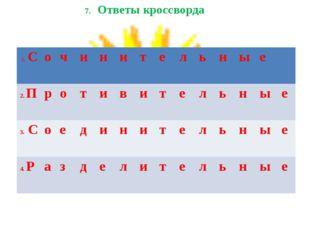 7. Ответы кроссворда 1. Сочинительные 2. Противитель