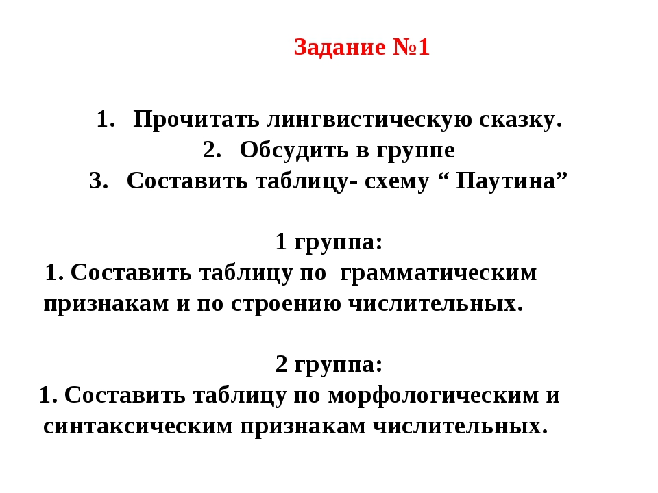 Задание №1 Прочитать лингвистическую сказку. Обсудить в группе Составить таб...