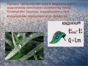 Процесс превращения пара в жидкость идет с выделением некоторого количества т