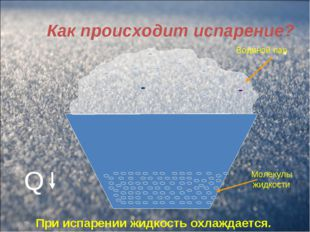 Как происходит испарение? Водяной пар Молекулы жидкости При испарении жидкост