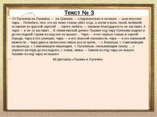 Беседа по тексту № 3 Как, по мнению М.Цветаевой, к Пугачёву относятся Пушкин
