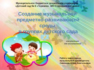 Создание музыкальной предметно-развивающей среды в группах детского сада конс