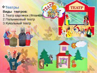 Театры Виды театров: Театр картинок (Фланелеграф) Пальчиковый театр Кукольный