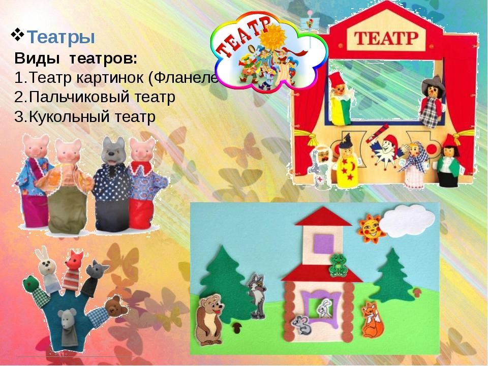 Театры Виды театров: Театр картинок (Фланелеграф) Пальчиковый театр Кукольный...