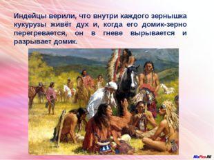 Индейцы верили, что внутри каждого зернышка кукурузы живёт дух и, когда его