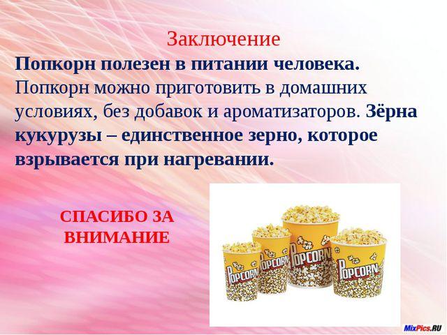 Заключение Попкорн полезен в питании человека. Попкорн можно приготовить в д...